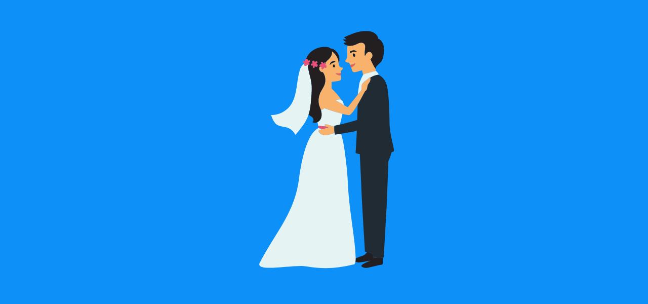 Mann og kvinne i bryllupsdans.
